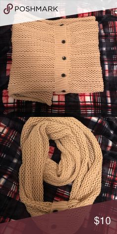 Tan Sweater Scarf A cute, warm scarf perfect for the chilly air! Is made of a thin sweater-like material with black buttons running down the middle. Was worn once but is in perfect condition. No trades. Bundle to save! Each listing comes with at least one free gift! 🎁 Accessories Scarves & Wraps
