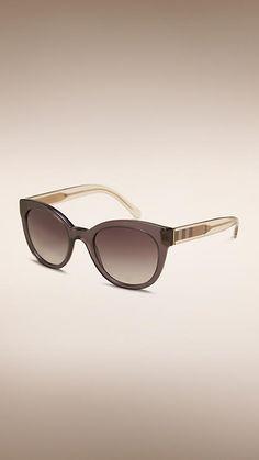 f7ede841e9238 Dark grey Check Detail Oval Frame Sunglasses - Image 1 Cinza Escuro, Oculos  De Sol