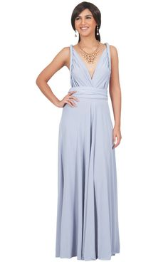 1672b56a647 KOH KOH Petite Womens Long Bridesmaid Convertible Wrap Cocktail Gown Sexy  Elegant Evening Party Classic Formal Semi Formal Prom Maxi Dress Color Gray  Grey ...