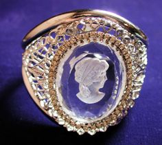 Whiting and Davis Massive Intaglio Cameo Clamper Bracelet from morningglorious on Ruby Lane
