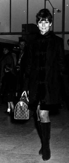 Audrey Hepburn at Heathrow Airport in London in November 1966.