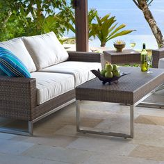 Outdoor Wicker Sofa | Palms Collection | Thos. Baker Wicker Sofa, Roof Deck,