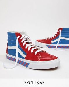 6e4857150e Vans Factory Pack SK8-Hi Checkerboard Trainers In Blue