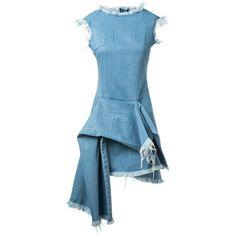 Marques' Almeida Light Blue Frayed Asymmetric Denim Dress ($515) ❤ liked on Polyvore featuring dresses, draped dress, sleeveless dress, no sleeve dress, torn dress and blue dress
