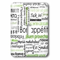 3dRose Green Bon Appetit Kitchen Typography Text Art - Words for Enjoy Your Meal in different languages, 2 Plug Outlet Cover