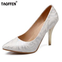 TAOFFEN women stiletto high heel shoes pointed toe spring sweet footwear  lady spring heeled pumps heels 525a941d8314