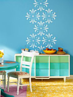 You can use this stencil for the laundry room, or on the bathroom door etc. You can make this design smaller by photocopying it at 60% or 50% - downsize it for scrapbooking or school artwork etc. The possibilities are endless. - Agnes / Wall and Floor Stencil A whimsical medallion motif stenciled onto the floor and wall brings this dining room to life. Applying a pattern to just one section of a wall .... Download the free pattern.