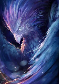 "Fantasy Art : Photo : adventure-fantasy: "" Blue Phoenix by Jasinai "" Phoenix Artwork, Phoenix Drawing, Phoenix Images, Fantasy Kunst, Dark Fantasy Art, Mythical Creatures Art, Fantasy Creatures, Phoenix Bird, Mystique"