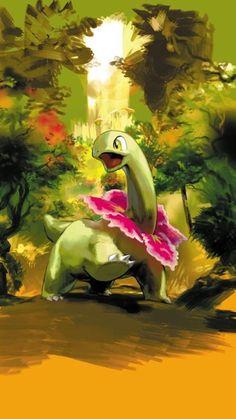 It's Meganium, the final evolution form of Chikorita. Grass Type Pokemon, All Pokemon, Pokemon Fan Art, Pokemon Cards, Cool Pokemon Wallpapers, Cute Pokemon Wallpaper, Animes Wallpapers, Dragons, Pokemon Starters
