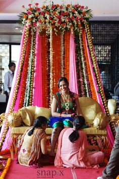 Mehendi Decor for bride to sit Instead of flowers and cloth, rajasthani mirrors … – Engagement Decoration Marriage Decoration, Wedding Stage Decorations, Engagement Decorations, Flower Decorations, House Decorations, Mehndi Stage, Mehendi Night, Mehndi Ceremony, Henna Night