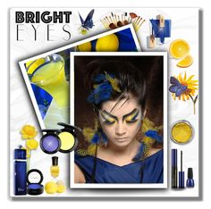 """""""Turn Around, Bright Eyes: Blue & Yellow"""" by majezy ❤ liked on Polyvore featuring beauty, MAC Cosmetics, Estée Lauder, Christian Dior, China Glaze, Eos and Deborah Lippmann"""