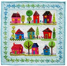 """by Becky at Piece o'Cake Designs: """"This is my year to participate in this quilt auction/challenge. All funds raised go the the Alzheimer's Art Quilt Initiative. This is my quilt, I Want To Go Home. Dog Quilts, Cute Quilts, Small Quilts, Mini Quilts, Quilt Baby, House Quilt Block, Quilt Blocks, Quilting Projects, Quilting Designs"""