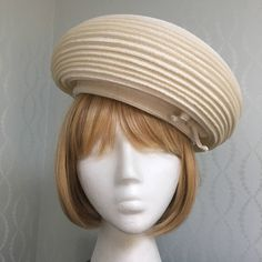 Christian Dior Off-White Woven Straw Hat 1960's-Pristine! by PurpleIrisVintage on Etsy