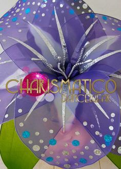 CHARISMATICO exotic purple and silver glitter flower headdress with blue accents