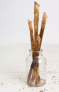 crispy bread sticks with poppy  sesame seeds, golden flax, paprika, caraway  cumin