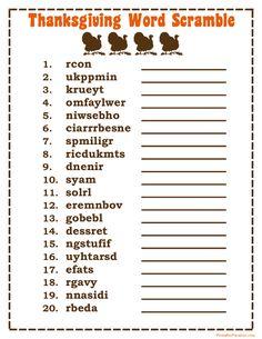 Printable Thanksgiving Word Scramble Game