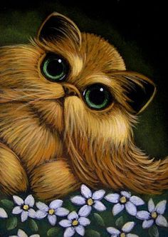 Art: RED GOLDEN PERSIAN CAT - WHITE FLOWERS by Artist Cyra R. Cancel