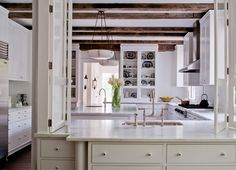 American Tudor - traditional - Kitchen - Other Metro - Donald Lococo Architects Kitchen Pass, New Kitchen, Kitchen Ideas, Kitchen White, Tudor Kitchen, Cozy Kitchen, Kitchen Wood, Kitchen Decor, Kitchen Cabinets