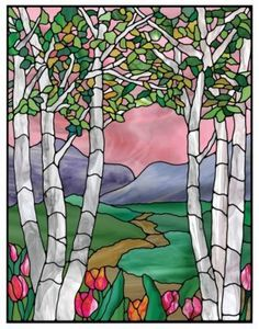 Faux stained glass window cling flowers mountains trees valley sunblock privacy