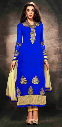USD 35.3 Blue Heavy Georgette Long Churidar Salwar Kameez 44045
