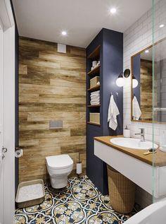 Fiatal család háromszobás lakása - skandináv lakberendezés színekkel, mintákkal, fa textúrákkal