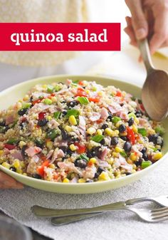 Quinoa Salad — This colorful Quinoa Salad recipe is made with red peppers, ham, and zesty dressing. This colorful dish would make the perfect addition to your dinner table or summer potluck spread.