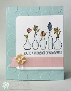Amy O'Neill:  Amy's Paper Crafts  – Vivid Springtime Vases - 3/25/15.  (SU: Vivid Vases; Polka Dot EF; SU markers/ aqua painter coloring).