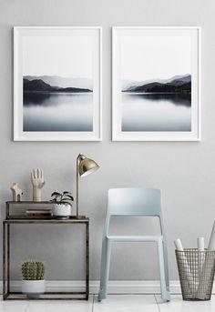 Black and White Mountain Wall Print Set of 2, Landscape Photography, Mountain Range, Living Room Decor, Printable Art, Mountain Lake Print, Office decor, Bedroom Decor