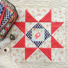 """Have you heard about the """"Star Spangled"""" block of the month available at Fort Worth Fabric Studio? Well here's your chance to make a lovely patriotic quilt by sewing just two blocks a month, using fr Star Quilt Blocks, Star Quilts, Quilt Block Patterns, Antique Quilts, Vintage Quilts, Aqua Fabric, Quilt Of Valor, Patriotic Quilts, Country Quilts"""