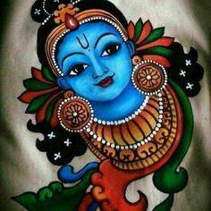 Kerala Mural Painting, Indian Art Paintings, Lord Shiva Painting, Ganesha Painting, Kalamkari Painting, Madhubani Painting, Krishna Art, Krishna Drawing, Lord Krishna Sketch