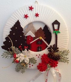 Sewing is my hobby - needlework, patterns, Sewing is my hobby - needlework, patterns. Christmas Makes, Christmas Art, Christmas Projects, Beautiful Christmas, Simple Christmas, Christmas 2019, Easy Christmas Decorations, Xmas Wreaths, Felt Christmas Ornaments