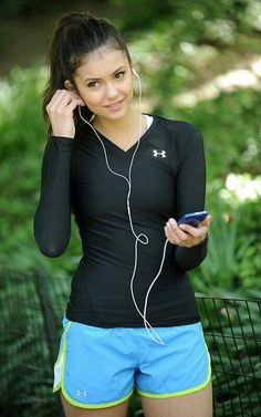 Gym or jogging outfit. This is a great balance, covering arms and showing legs…