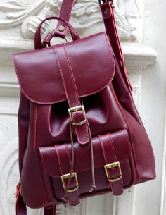 Handmade leather backpack No 5 TWINS .... bordeaux ....