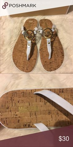Michael Kors MK Charm Jelly Sandals White and gold. In great condition. Only wore once. Box included also in great shape. From smoke free home. Michael Kors Shoes Sandals