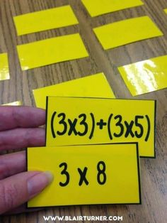 """Grade Math Centers - Reinforce multiplication properties with an """"expression concentration"""" game. Could also do problem and answer. Fourth Grade Math, 3rd Grade Classroom, Math Classroom, Math Strategies, Math Resources, Math Activities, Math Multiplication, Multiplication Properties, Maths"""