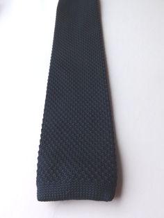 Vintage Repro NEXT SKINNY KNITTED NECK TIE Dark Blue MOD LAMBRETTA FREE P&P #Next #NeckTie