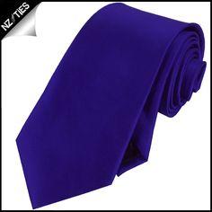 Men's Electric Blue Indigo Plain Necktie- NZ Ties