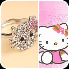 Hello Kitty Ring Adjustable Hello Kitty ring to match your Hello Kitty earrings (separate listing) or to sport alone in all her sparkly glory.  Be prepared for giddy, smiling & elated friends if you decide to give her as a gift.  The ring is very nice, you'll love it!  So sparkly in person.  This listing is for the ring only.  Earrings can be found in separate listing.     I have only 2 left! Update: I'm having a jewelry clearance sale, any 3 jewelry items for only $15! Boutique Jewelry…