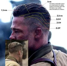 Mens Hairstyles With Beard, Cool Mens Haircuts, Brad Pitt Hairstyles, Brad Pitt Fury Haircut, Beard Haircut, Beard Styles For Men, Hair And Beard Styles, Slick Back Haircut, Male Hairstyles