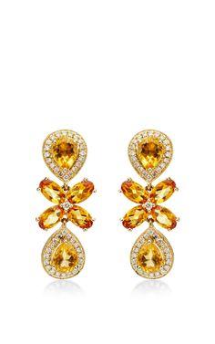 One Of A Kind Courtney Lauren Citrine And Diamond Earrings by Dana Rebecca for Preorder on Moda Operandi
