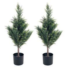 Pure Garden 2 Piece - 34 in. Artificial Cedar Trees - 50-10019