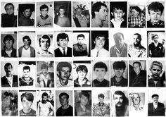 One of many boards filled with photographs of missing people. Association of Srebrenica Mothers in Tuzla. September 2002. USHMM Tarik Samarah