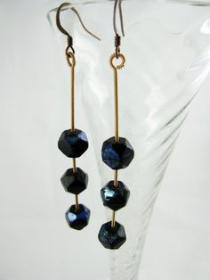 Antique black czech glass recycled guitar string earrings