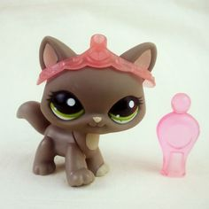 Littlest Pet Shop 1059 Grey Maine Coon Cat LPS Toy HASBRO 2007 Green eyes Tiara