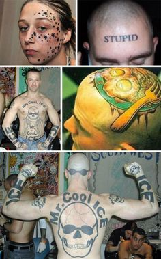 Tattoos allow one to express their individualism - and sometimes, that is a bad thing. VERY bad. VERY stupid. Tattoos Gone Wrong, Terrible Tattoos, Hand Tattoos, Tattoo Fails, Funny Tattoos Fails, Tattoo Mistakes, Tattoo Designs, Lol, Love Wallpaper