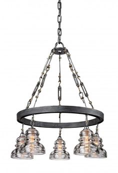 Five Light Old Silver Down Chandelier : HYVP | Newton Electrical Supply