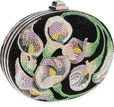 Judith Leiber Full Bead Black, Pink & Green Crystal Calalillies Minaudiere Evening Bag