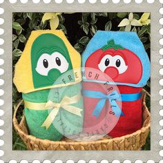 Vegetable Duo hooded towel designs. #Embroidery #Applique