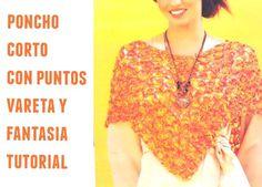 Patrones Crochet: Poncho corto con puntos fantasia y vareta
