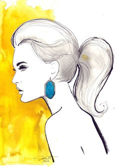 Watercolor & ink illustration of Kendra Scott Danielle Earrings in Turquoise
